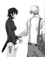 Novelist Han finishing Sora's sword training (Episode 96)
