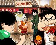 Yopy and Taek eating Yopy Grilled Skewers while Akira pays (Season 2 Episode 85)