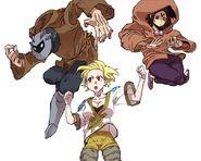 Armes, Dorita and Lotus Root Girl during Zara Guild's infiltration of Cobalt Castle (Episode 54)