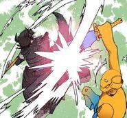 Sora's Bash blocked by Assistant Manager Park's Electric Sword (Episode 82)