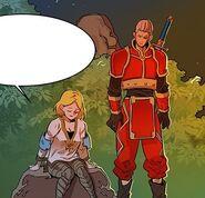 Armes talking to The Best Swordsman during Zara Guild's celebrations (Episode 54)