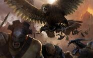 Eagle attacking orcs