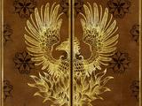 Nicolas Flamel's phoenix-embossed book