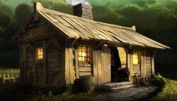 Изображение деревянной хижины с Pottermore