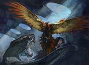 Fawkes kontra bazyliszek - ilustracja na Pottermore