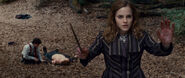 Hermione with bloody hands (and a splinched Ron lying on ground)
