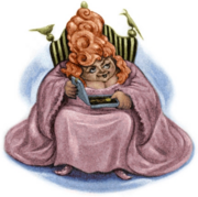 Otyła, niska Chefsiba siedząca na krześle ze szkatułką na kolanach