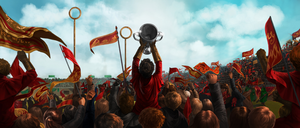 Harry Holding Quidditch Cup in a Crowd.png