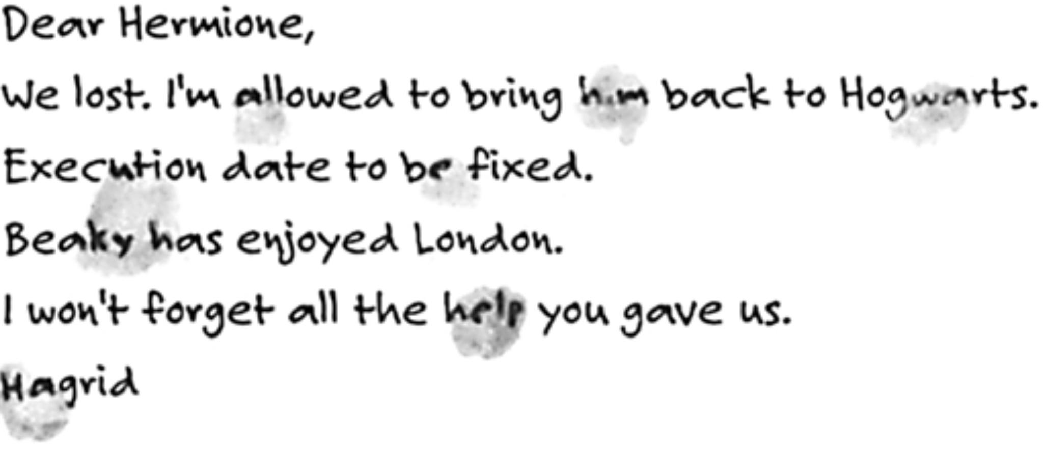 Rubeus Hagrid's letter to Hermione Granger