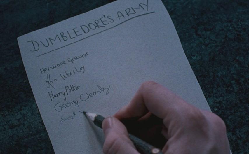 Dumbledore's Army parchment jinx
