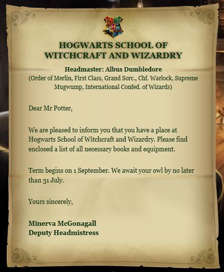 霍格沃茨录取通知书