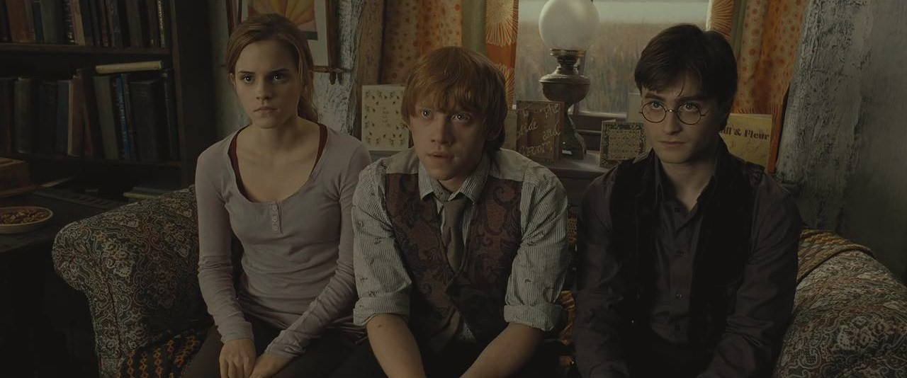 Harry, Ron and Hermione during the reading of Dumbledore's will.jpg