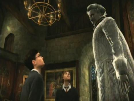 Harry and Ron talks to Nearly Headless Nick.JPG