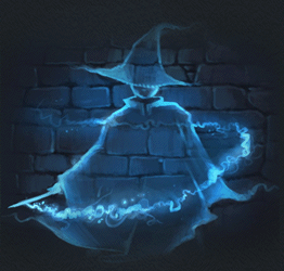A wizard turning himself invisible