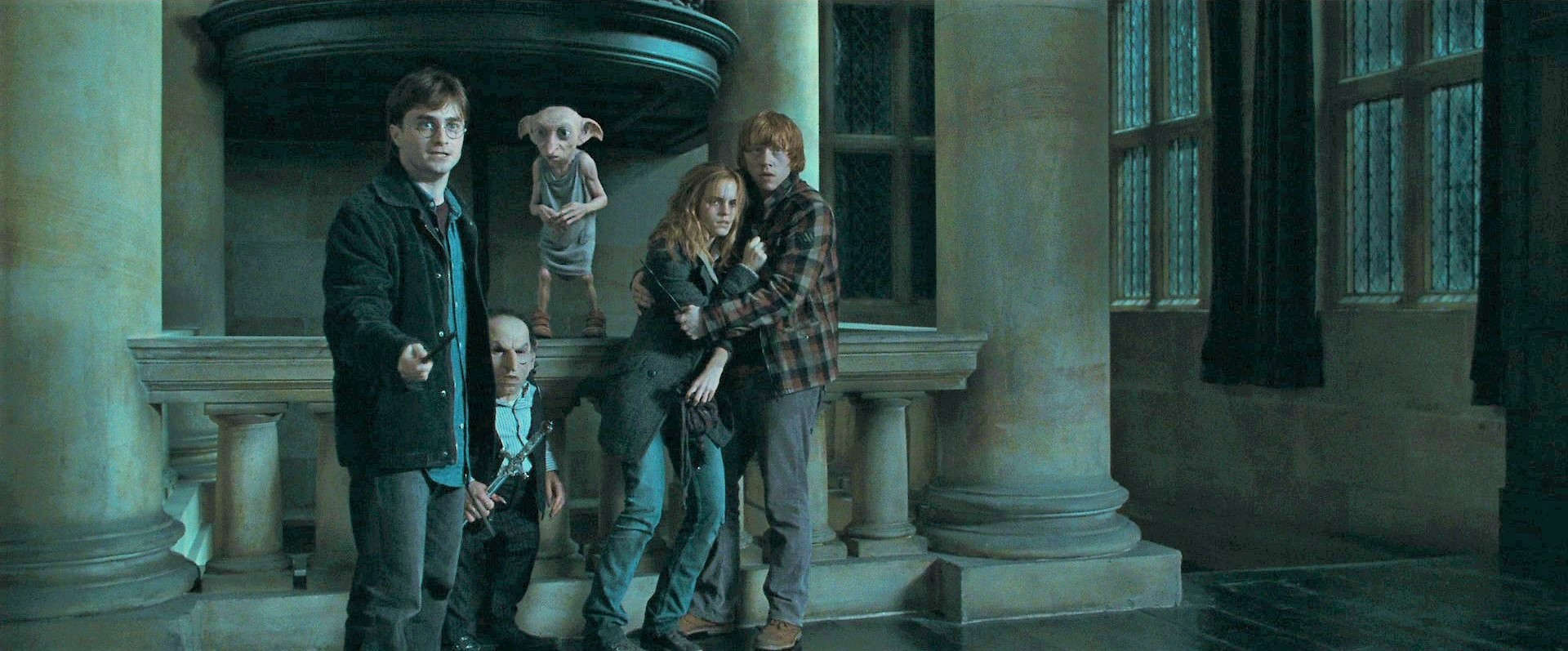 07 Dobby rescuing Harry Potter, Griphook, Hermione and Ron.jpg