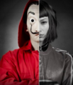Tokio zwei Gesichter Maske schwarz weiß Haus des Geldes