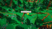 """A screenshot of a forest path with a fallen tree in front of the player. Above the tree, a speech bubble reads """"Press A for a hint""""."""