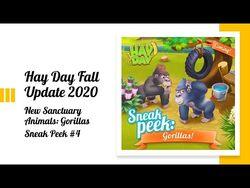 Hay Day Fall Update 2020 - Sneak Peek -4 - New Sanctuary Animal • the Gorilla, new Decorations 🦍