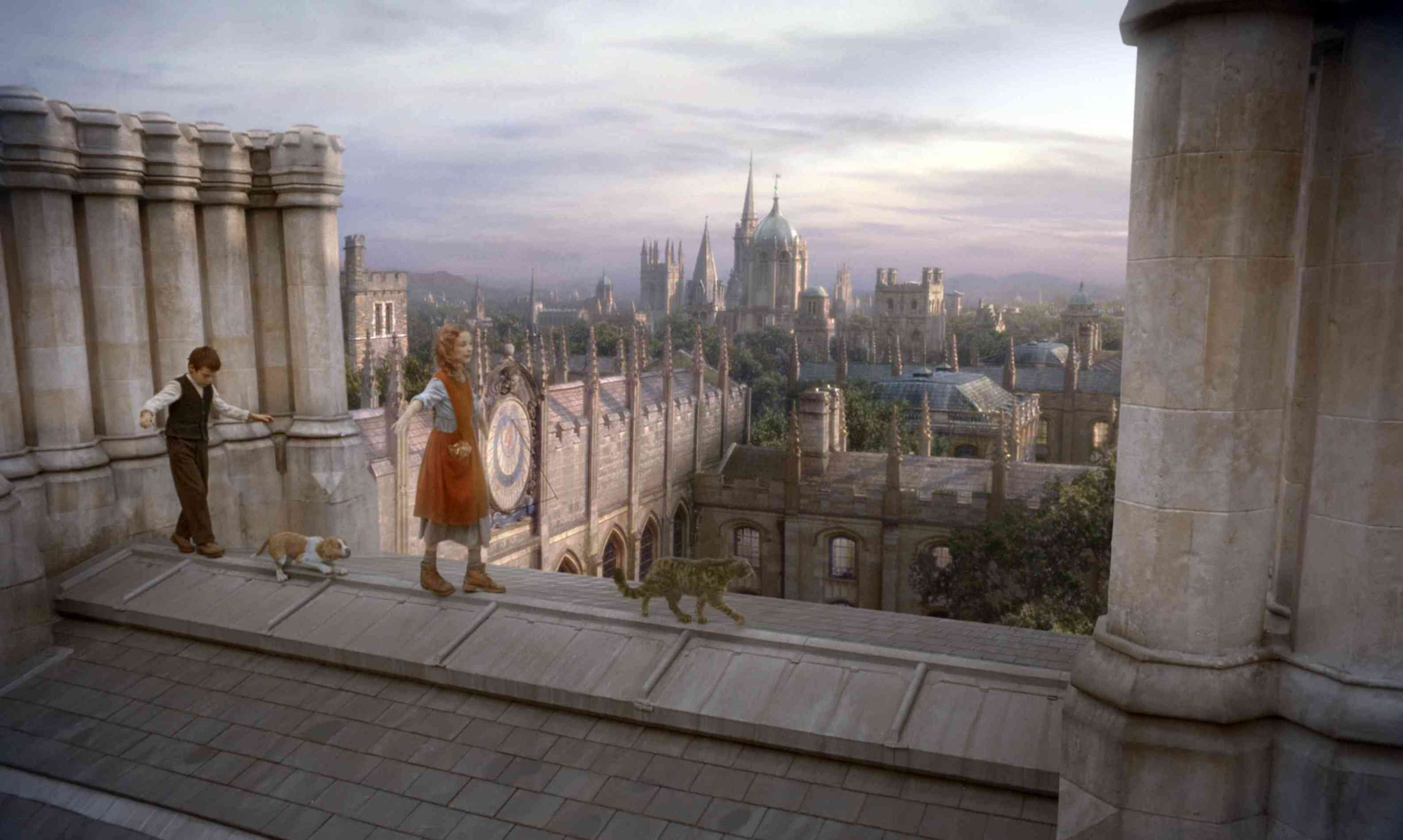 Roger and Lyra on the roof of Jordan College.jpg