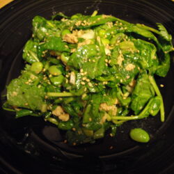 Asian Spinach Salad with Salmon and Edamame