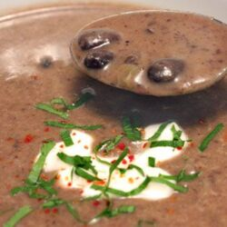 Spicy Black Bean Soup with Lime & Cilantro