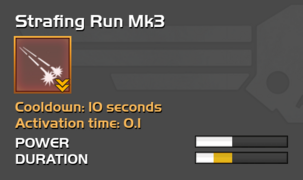 Fully upgraded Strafing Run
