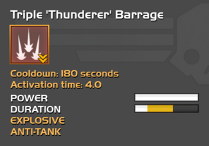 Fully upgraded to Triple 'Thunderer' Barrage