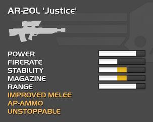 Fully upgraded AR-20L Justice
