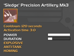 Fully upgraded 'Sledge' Precision Artillery
