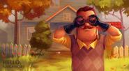 Арт соседа с биноклем