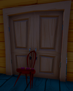 Chair-propped double door