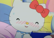 Kitty blushing and giggling
