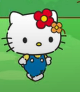 Kitty wearin red and orange flowers