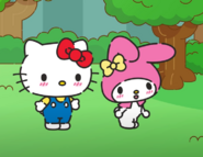 Hello Kitty and My Melody blushing