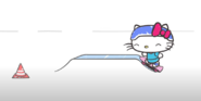 Hello Kitty ridin a skateboard