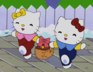 Kitty and Mimmy with a basket