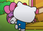 Hello Kitty and My Melody hugging each other