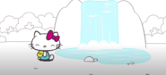 Hello Kitty by a waterfall