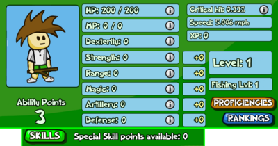 An example of what a character's status screen might look like