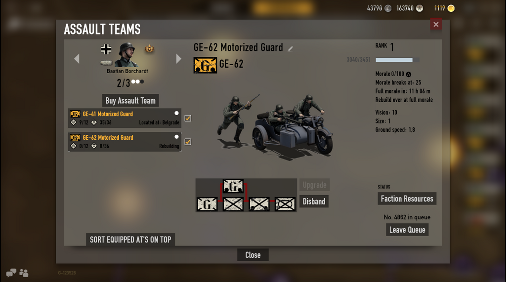 An example image of an assault-team-status showing the timer for full base / default morale-recovery.