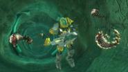 Evo Underwater Holding the Tornado Staff