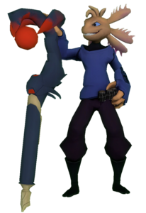 Axol holds his staff