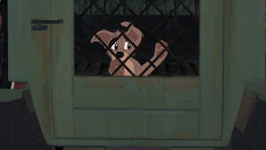 Scamp in the dog pound van