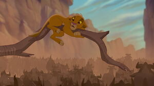 Young Simba trapped in the stampede