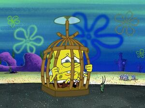 SpongeBob held captive by Plankton