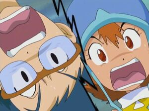 Sora Takenouchi and Joe Kido screaming in horror