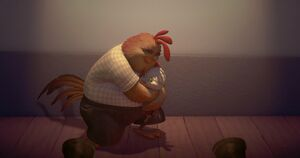 Chicken Little apologizes to Dad