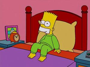Bart Simpson gagged by Sideshow Bob