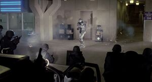Robocop being attacked