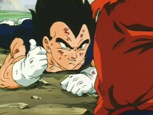Vegeta giving a thumbs up at Goku and becoming friends with him